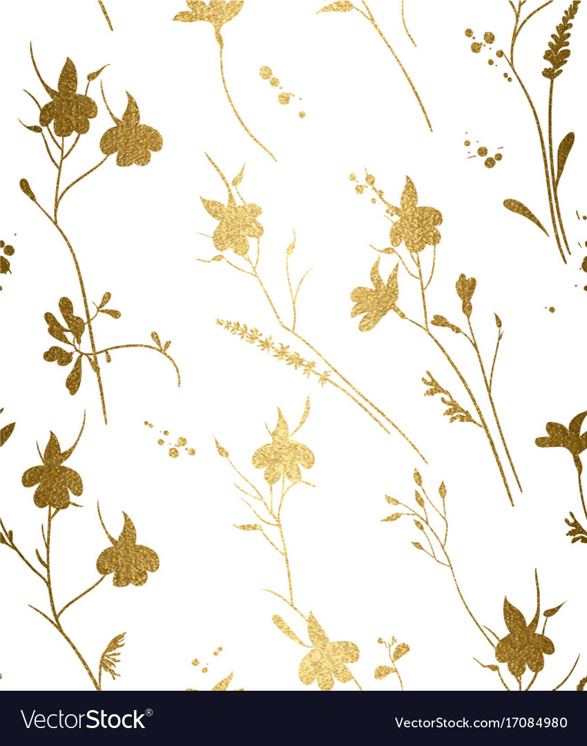 Seamless gold floral pattern on a white background.