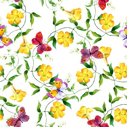Yellow flower and butterfly. Seamless floral print.