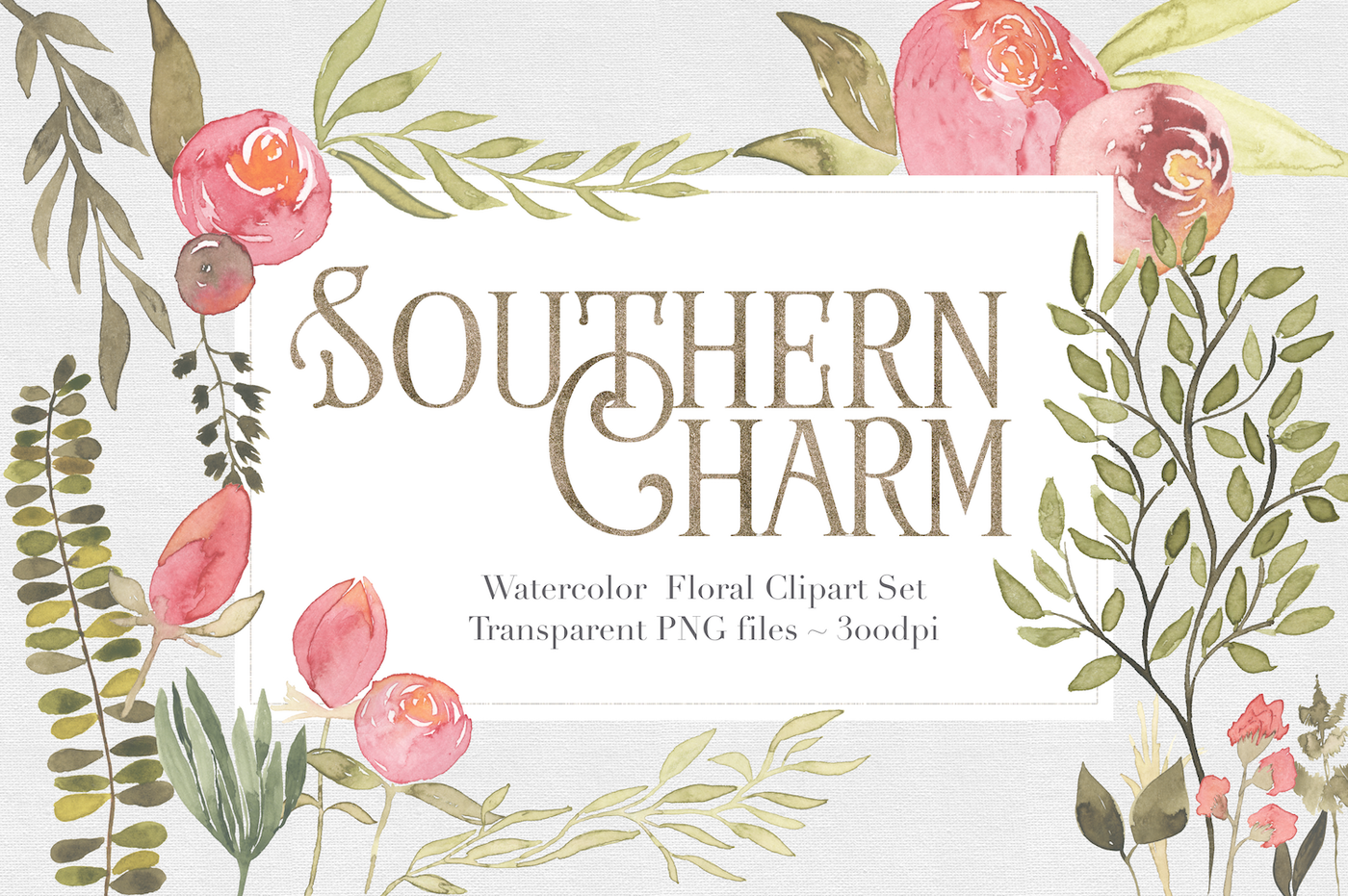 Southern Charm Floral Clipart Set by The Autumn Rabbit.