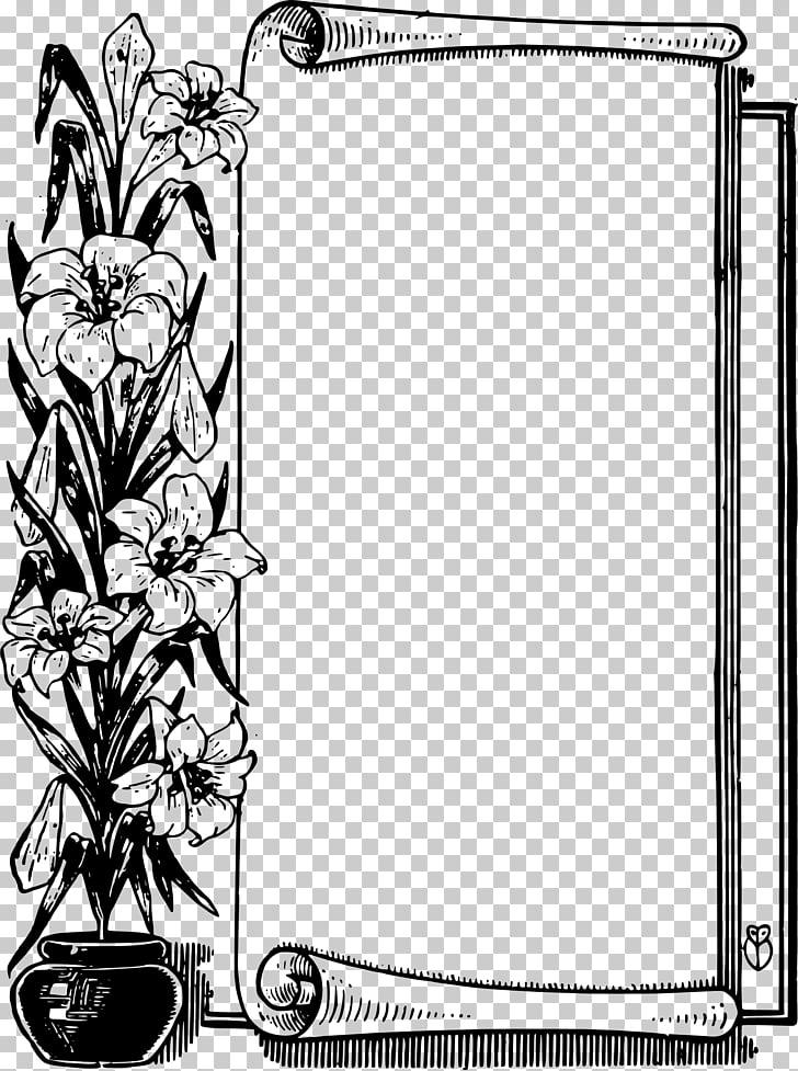 Flower Scroll , black border PNG clipart.