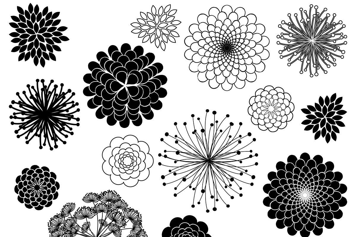 Flower Silhouettes Vectors/Clipart 2.