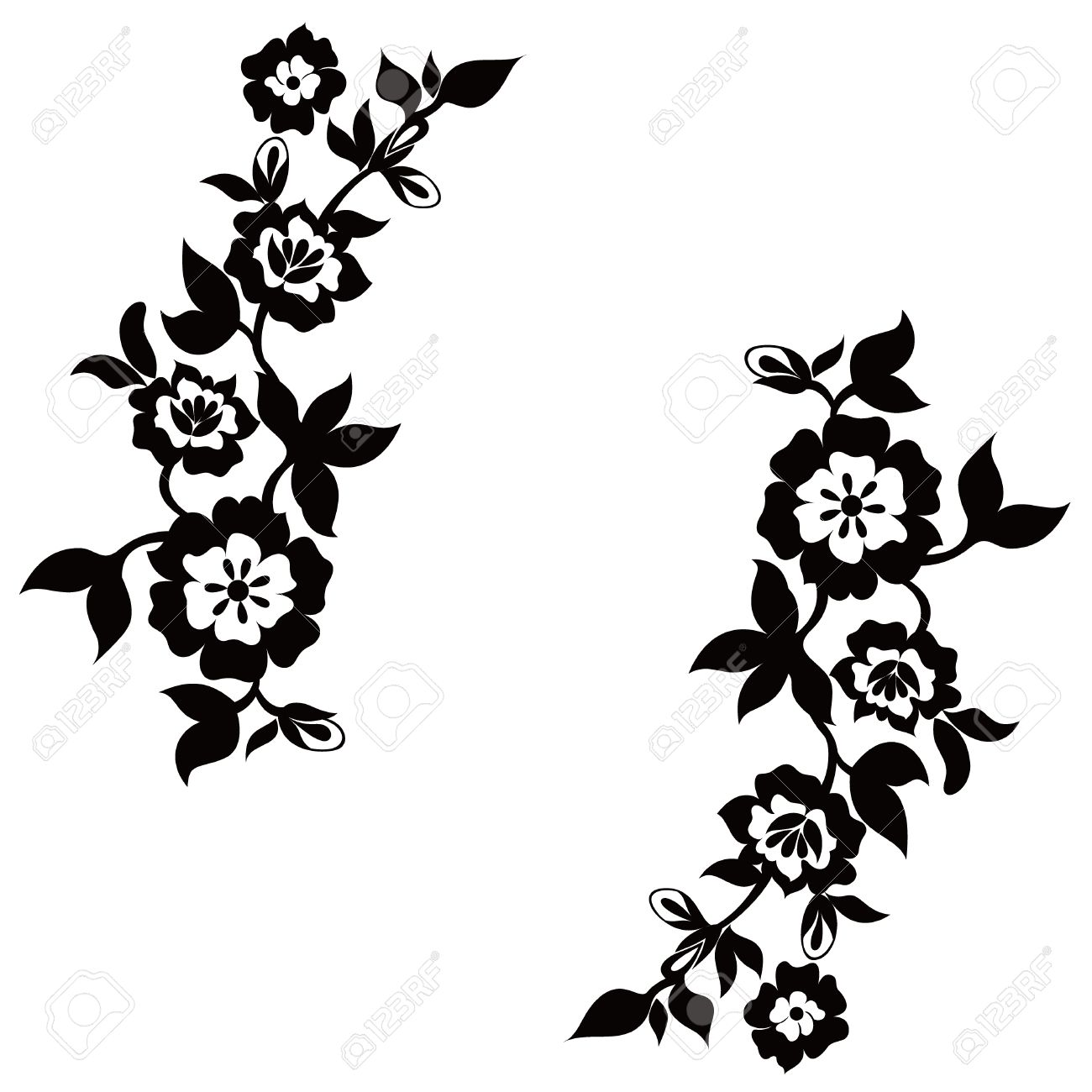 Floral Silhouette Vector.
