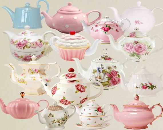Teapot Clip Art , Teacup , Vintage tea pots, Vintage teapot , Tea Party  Clipart , Floral Teapot , Floral tea time , Teatime Pink Roses.