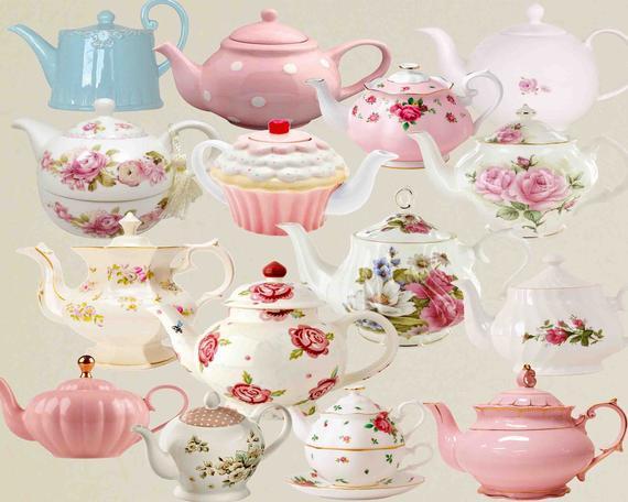 Teapot Clip Art , Teacup , Vintage tea pots, Vintage teapot , Tea Party  Clipart , Floral Teapot , Floral tea time , Teatime Pink Roses.