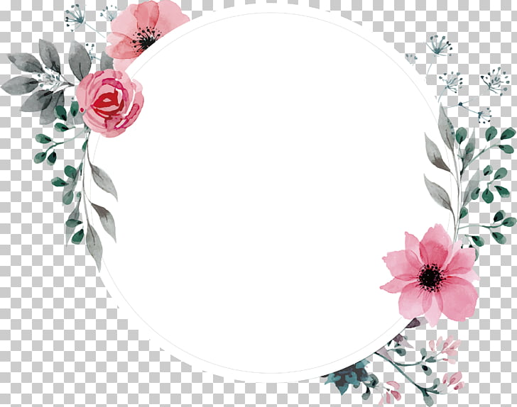Frame Flower , Hand painted watercolor retro rose label.