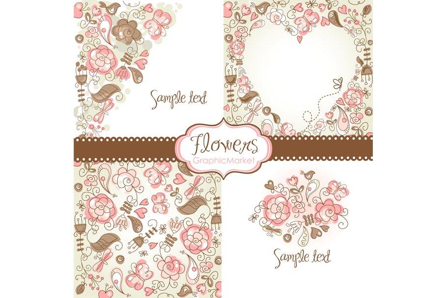 4 Floral template designs.