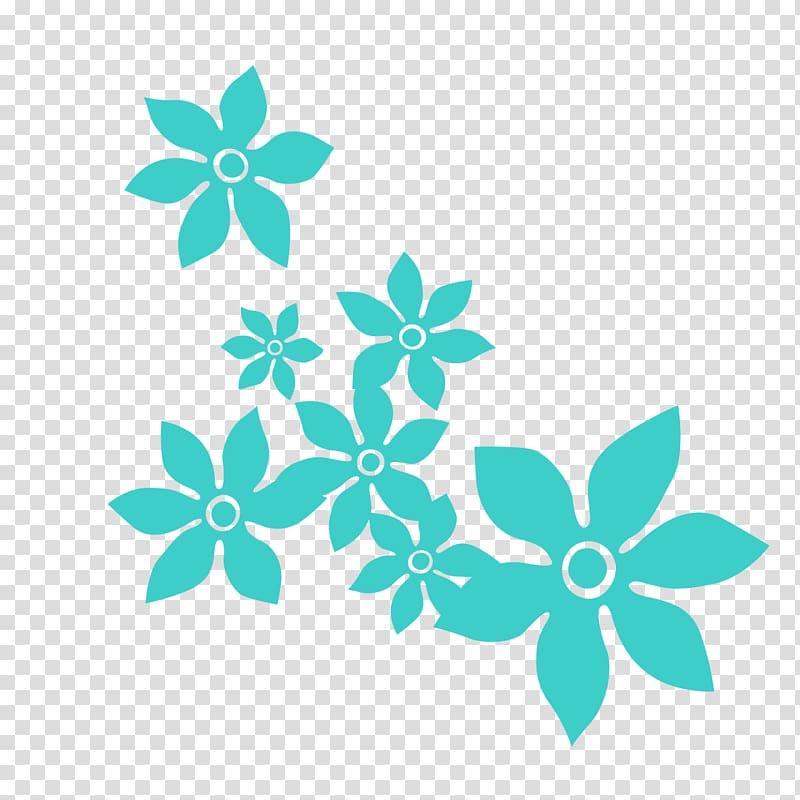 Blue Flower Color, Blue floral background decoration.
