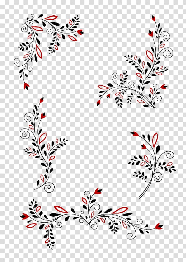 Five black and red flowers illustration, Computer file.