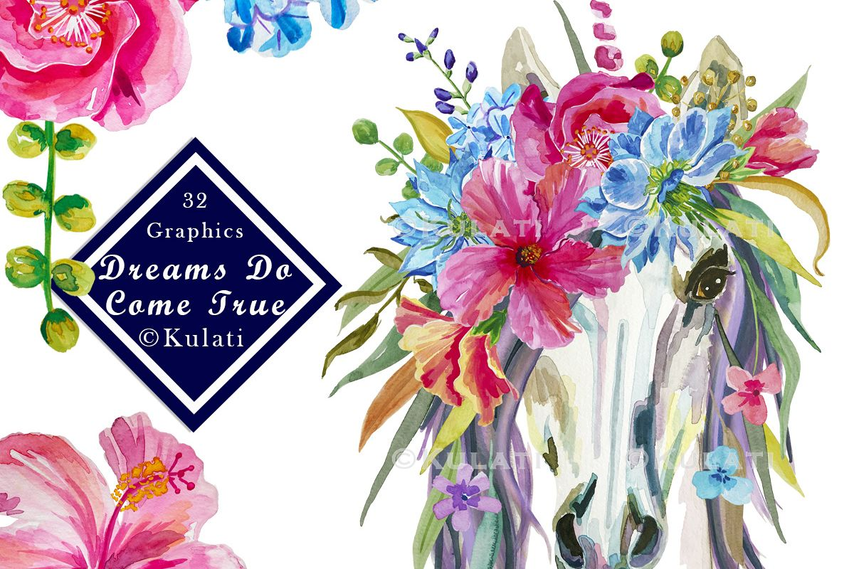 Floral Unicorn Graphics Clipart Illustrations.