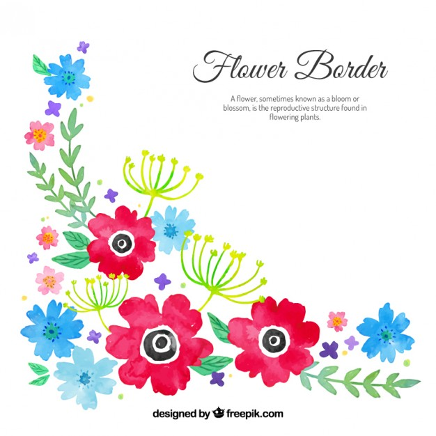 Watercolour floral corner Vector.