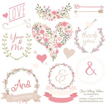 Clara Vintage Floral Wedding Heart Clipart in Soft Pink.