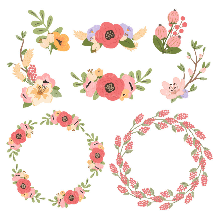 Jenny Round Floral Wreaths Clipart in Wildflowers.