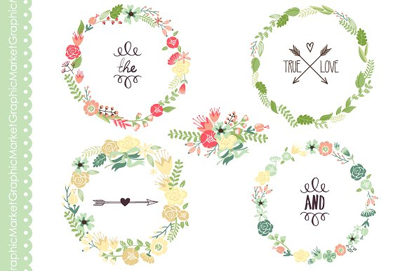Floral Wreaths clip art and flowers ~ Illustrations on Creative Market.