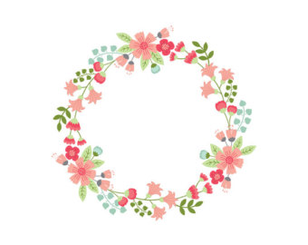 Items similar to Blue Floral Wreath Clip Art on Etsy.