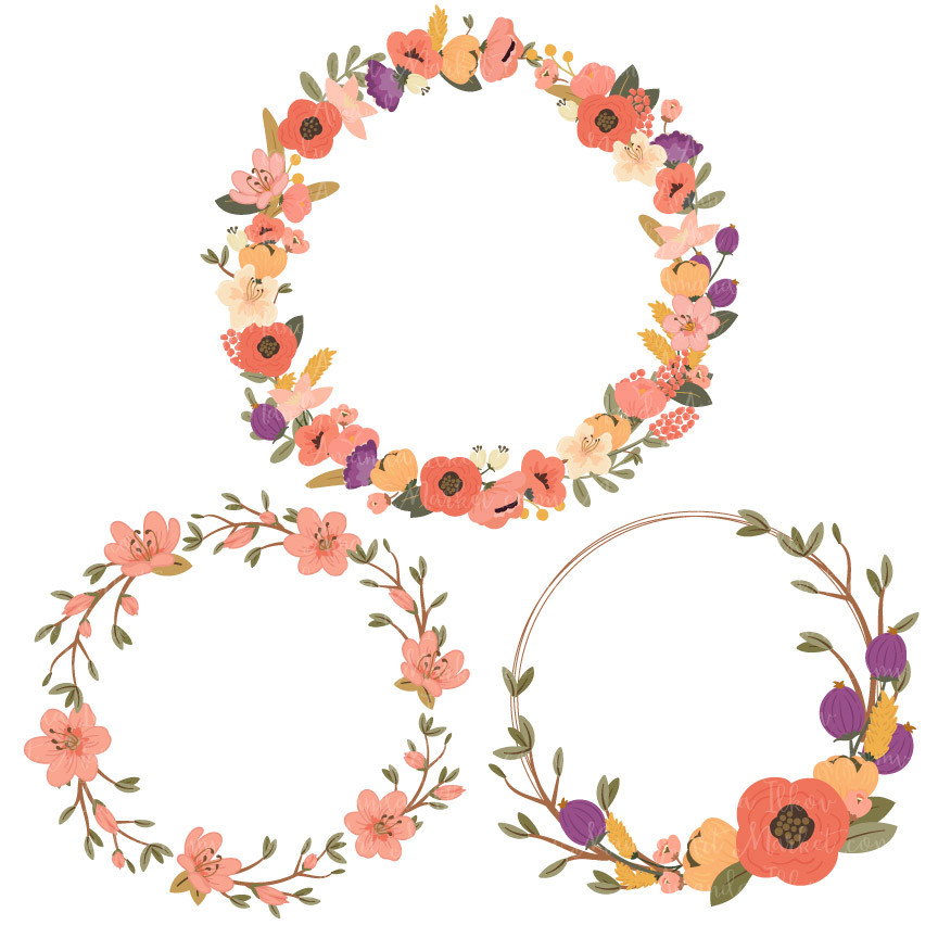 Jenny Round Floral Wreaths Clipart in Antique Peach.