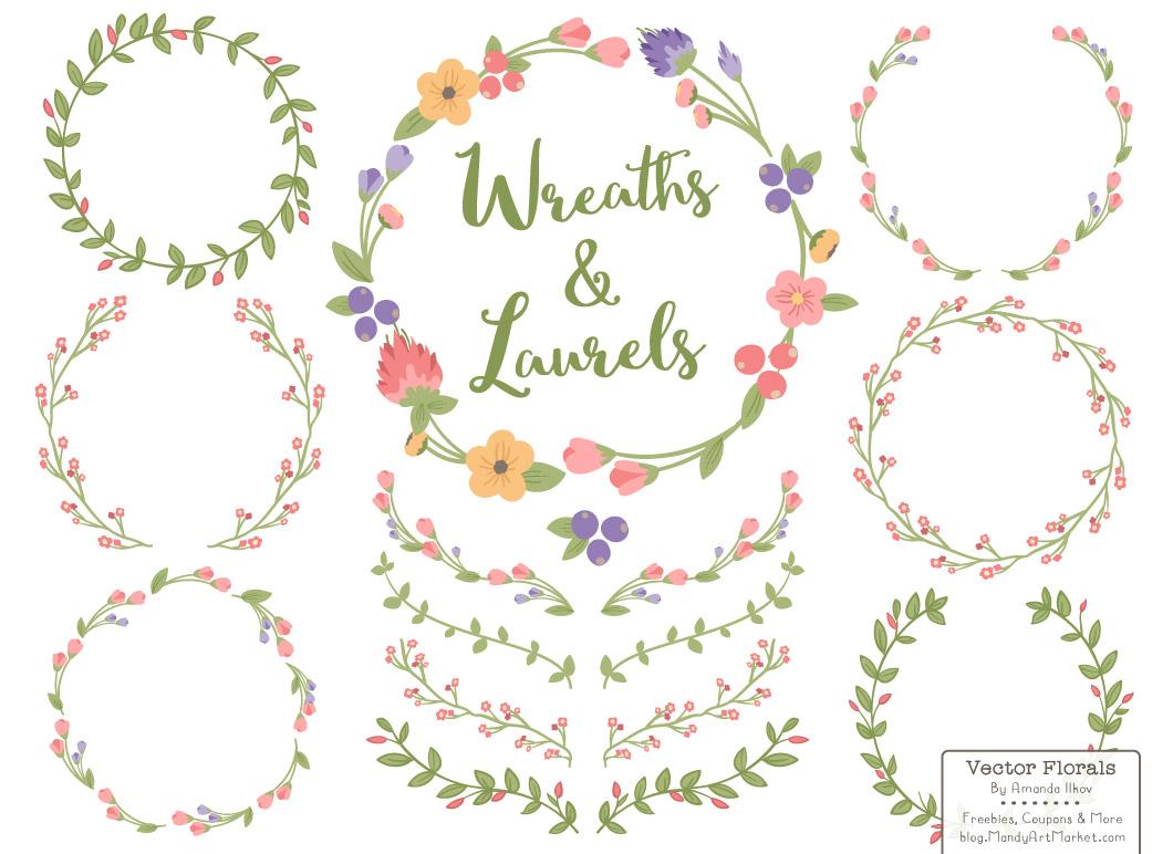 Free Floral Wreath Vectors.