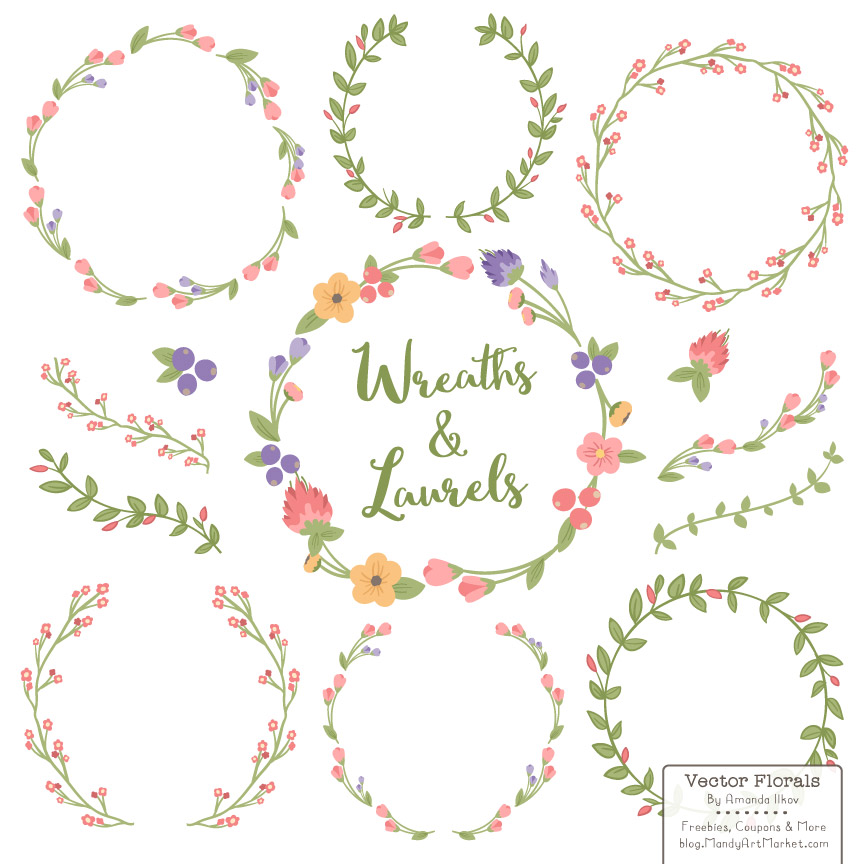 Free Floral Wreath Vectors.