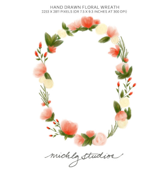Simple floral wreath clipart.