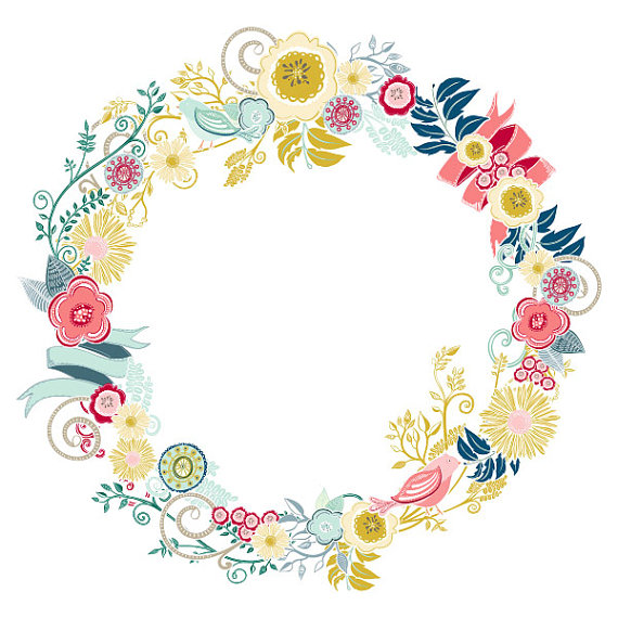 Free floral wreath clipart.