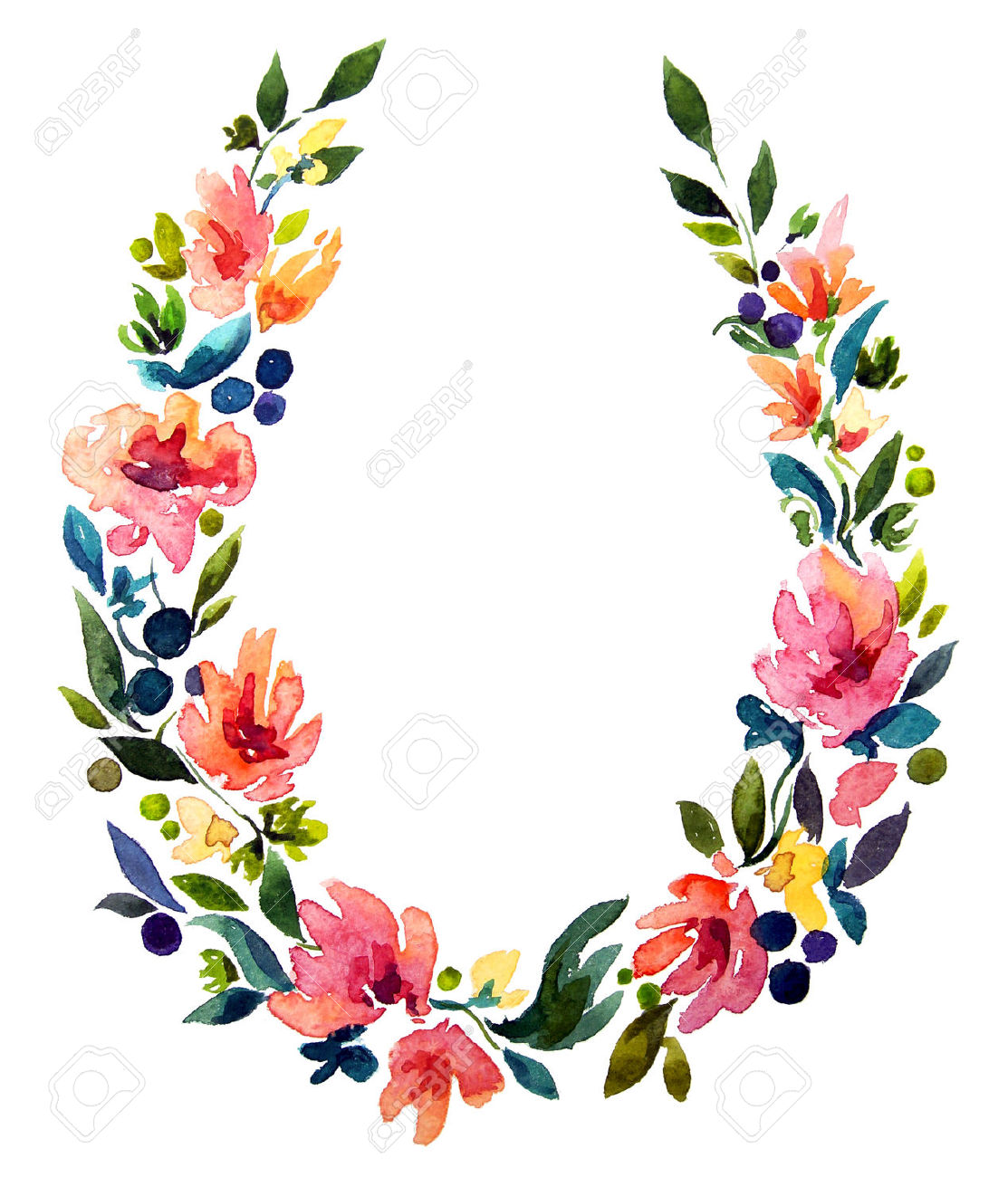 Floral wreath clipart.