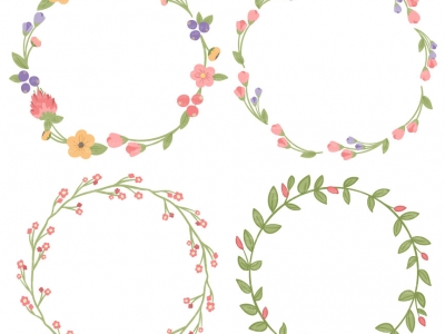 circle flower wreath clipart #16