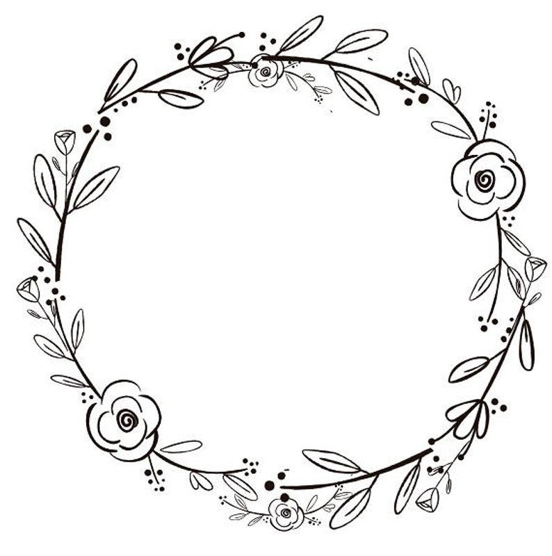 Black Clipart Black Flowers Handdrawn Wreath Clipart Minimalist Wreath  Rustic Wreath.