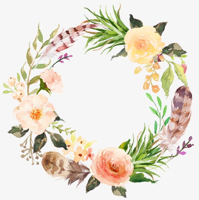 Watercolor aesthetic style floral wreath PNG clipart.