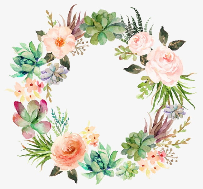 Delicate floral wreath PNG clipart.