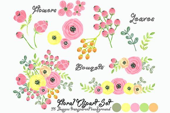 Watercolor Floral Set Clipart.