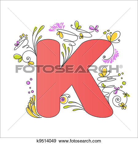 Clip Art of Colorful floral alphabet. Letter C k9514037.