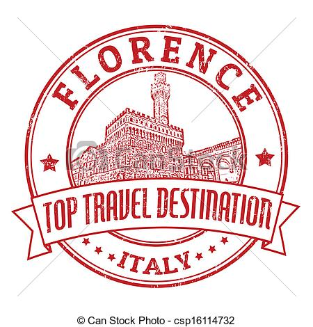 Vectors of Florence, Italy stamp.