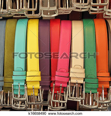 Stock Photography of colorful leather belts on market San Lorenzo.