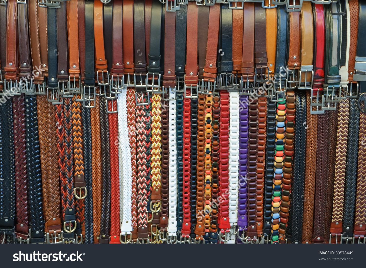 Leather Belts For Sale On Street Market In Florence, Italy Stock.