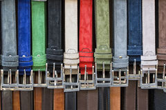 Leather Belts In Italian Shop In Florence Stock Photo.