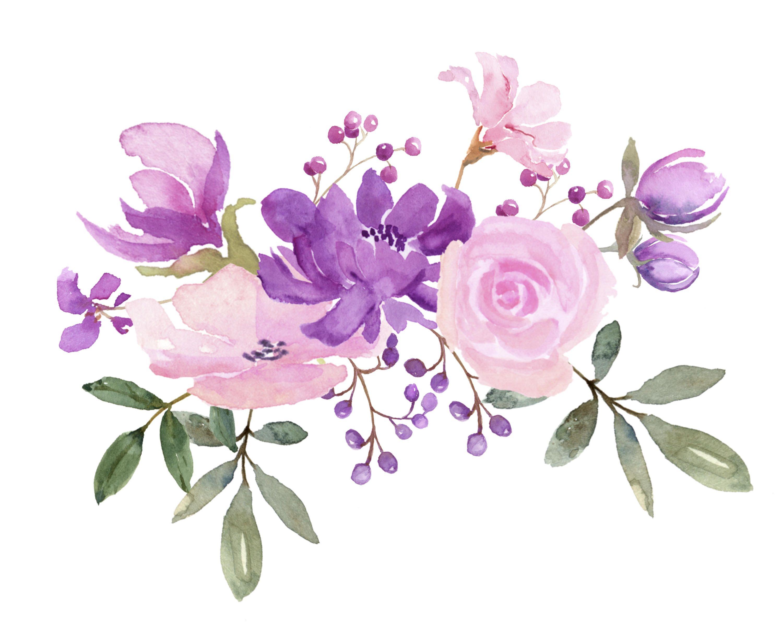 Flores frescas de primavera en púrpura, rosa y lavanda.