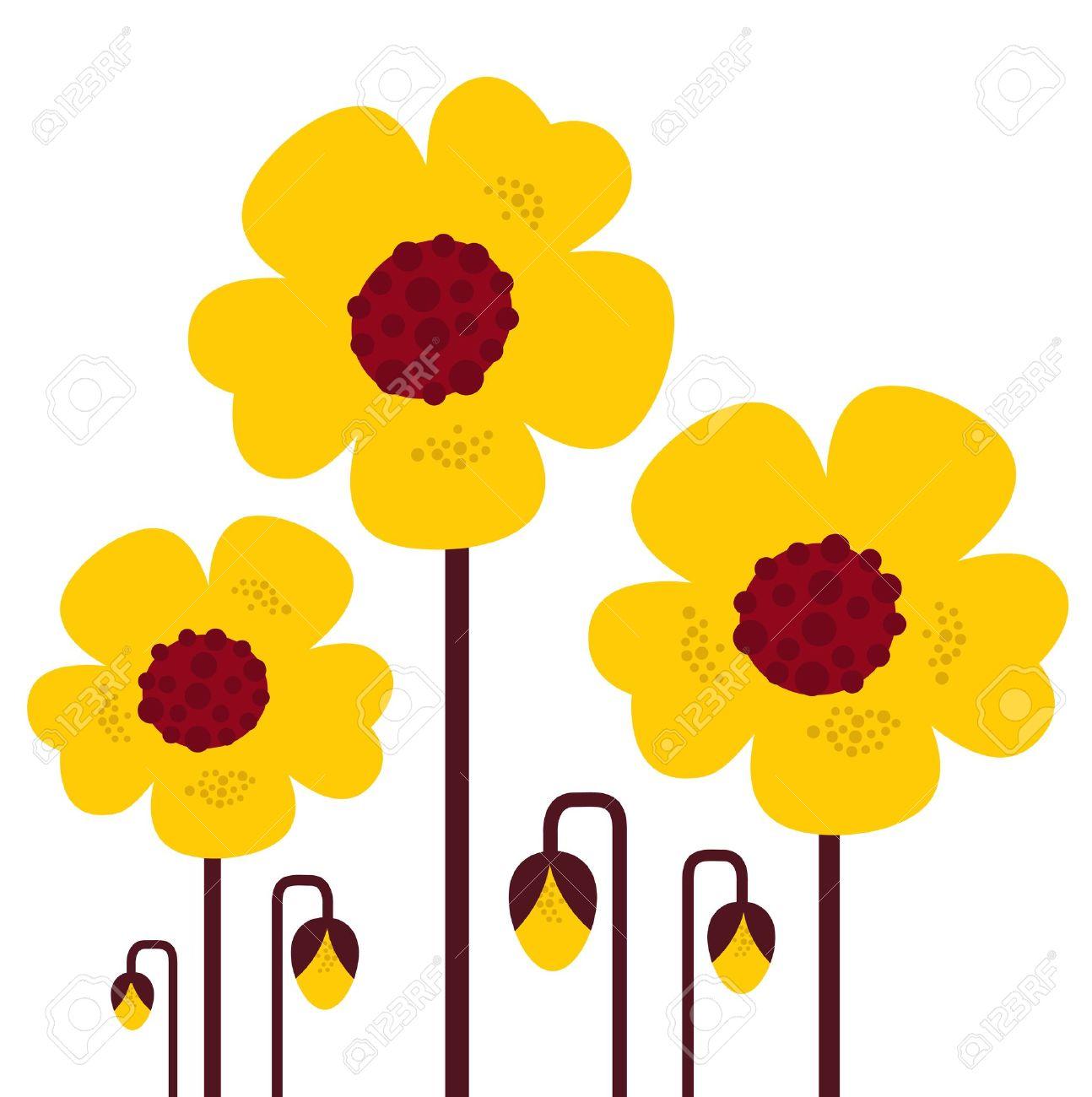 Retro Flores Amarillas Ilustraciones Vectoriales, Clip Art.