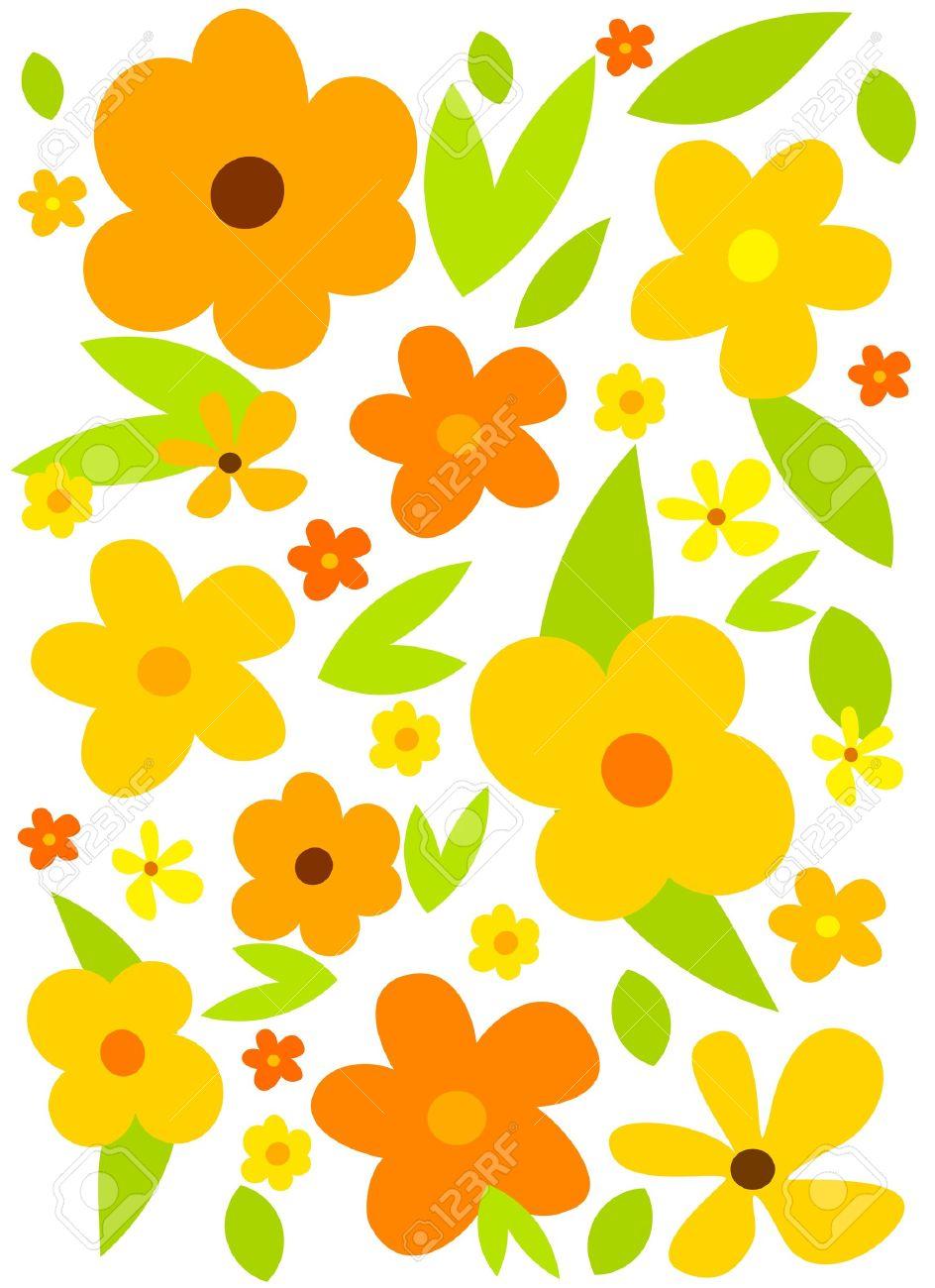 Fondo De Flor Con Flores Amarillas. Vector Ilustraciones.