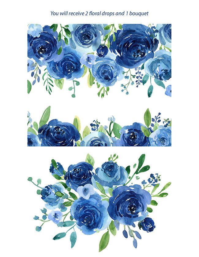 Acuarela flores Clipart rosas azules hojas ramas de uso.