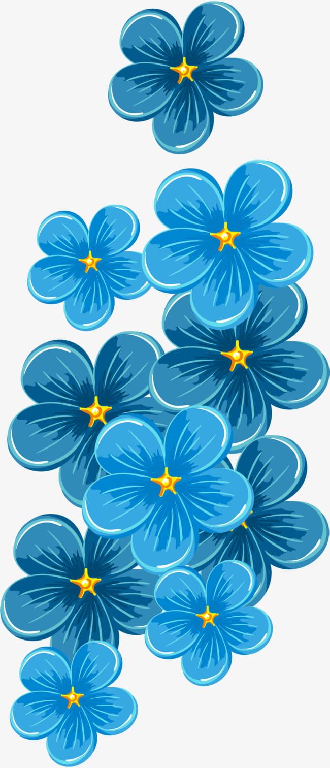 Flores azules pintadas a mano PNG Clipart.