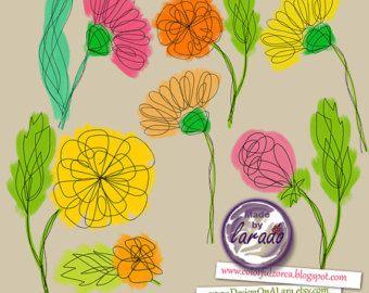 Doodle flores Clipart y vectores.