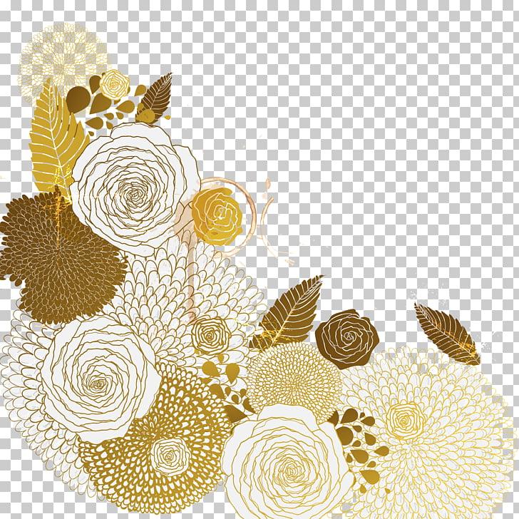 Flor euclidiana, patrón de flores doradas, ilustración de.
