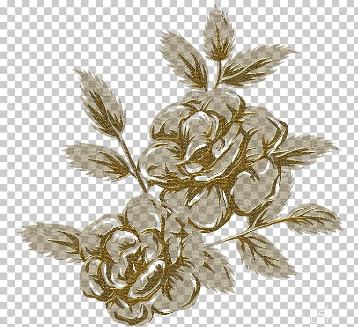 Dibujo, flores doradas PNG Clipart.