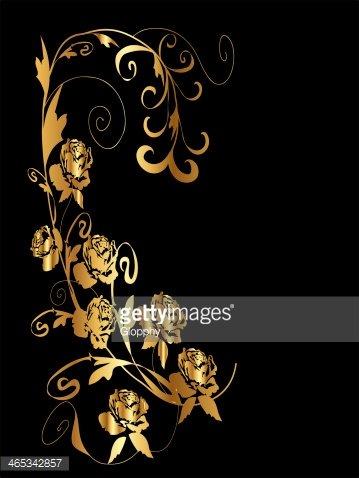 Golden Floral Roses Frame stock vectors.