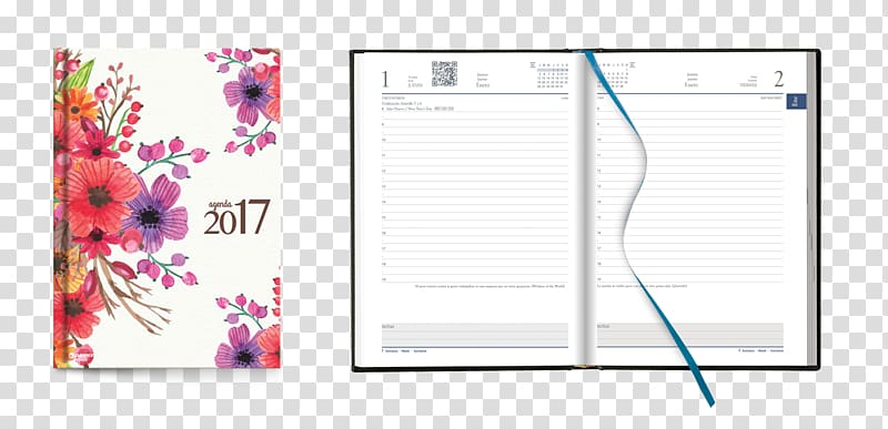 Paper clip Diary Notebook Ring binder, Flores Mexicanas.