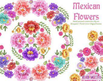 Flores bordados istmo, flores mexicanas para invitaciones de.