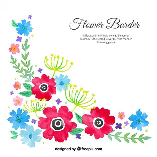 Watercolour floral corner Free Vector.