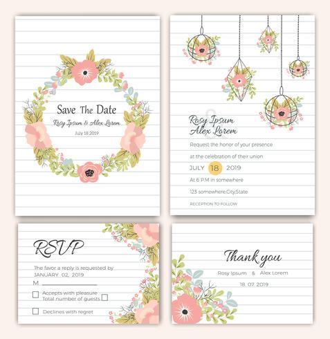 Conjunto de vetores de cartões de convite com elementos de.