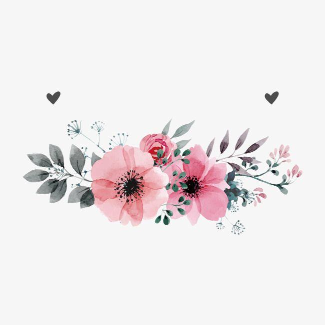 Pink Flowers Vector, Flores De Color Rosa, Flor, Pintado A Mano De.