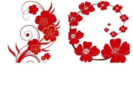 Patrón y flores rojas Clipart Picture Free Download.