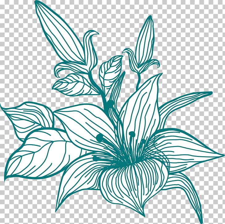 Pétalo verde amarillo, pintado a mano flores verdes PNG.